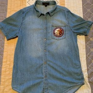 Custom Patched Forever 21 Mens Denim Button Shirt